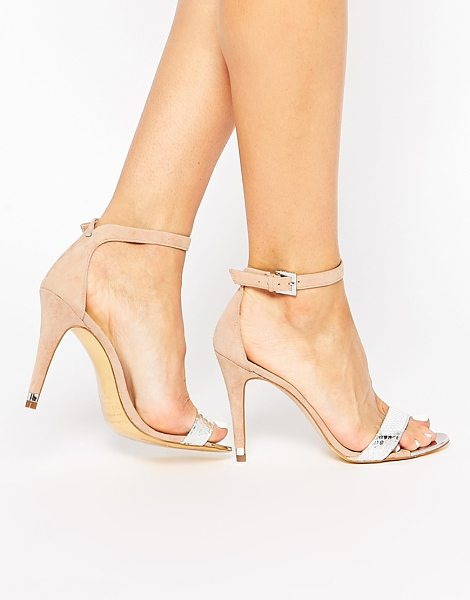 Ted Baker Juliennas suede barely there heeled sandals in silverlttan - Shoes by Ted Baker Suede upper Textured metallic leather...