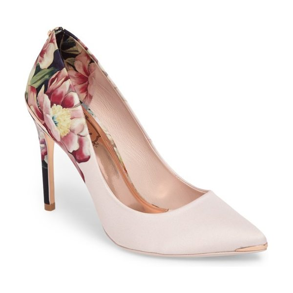 Ted Baker kawaap pump in peach blossom satin - Luxe patterned fabric textures a classically profiled...