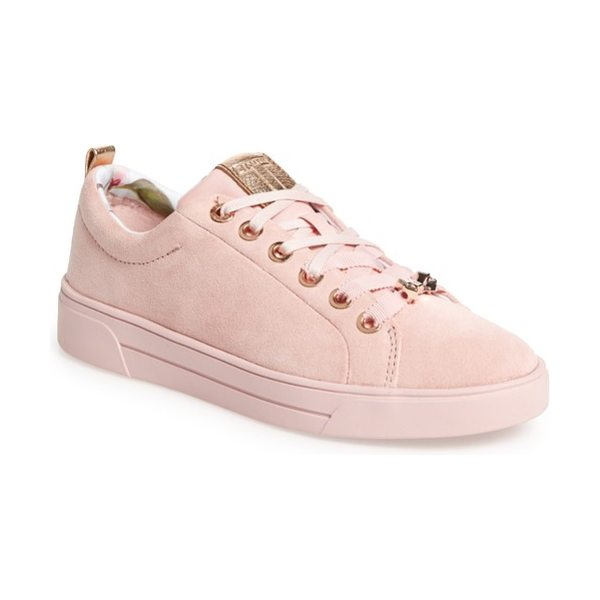 Ted Baker kelleip sneaker in mink pink suede - Ombre-shaded blooms seem to disappear along the bumper...