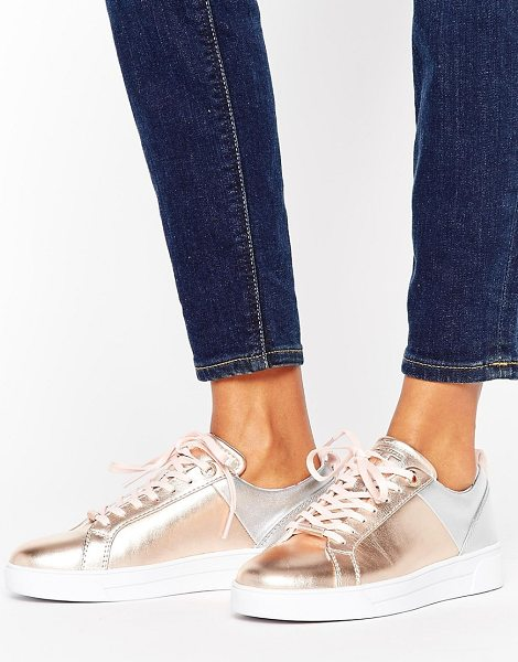Ted Baker Kulei Metallic Leather Sneakers in gold - Sneakers by Ted Baker, Leather upper, Lace-up fastening,...