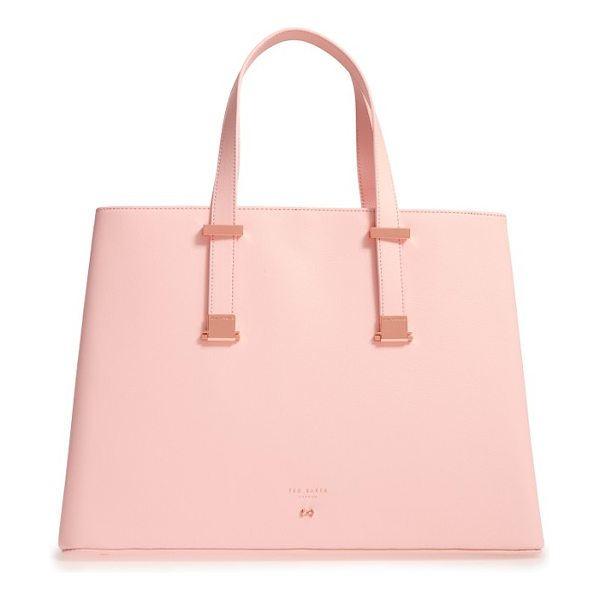 TED BAKER alissaa leather tote in pale pink - Professional polish meets uptown chic on a leather tote...