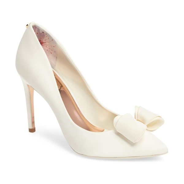 Ted Baker azeline bow pump in cream fabric - A hardware-embellished bow adds a signature flourish to...