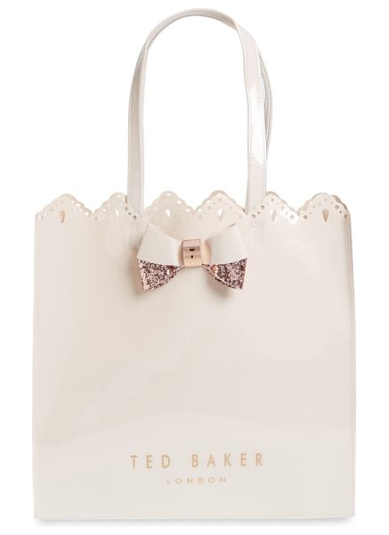Ted Baker belacon large icon tote in pale pink - Slightly shimmery, scalloped and set off with a...