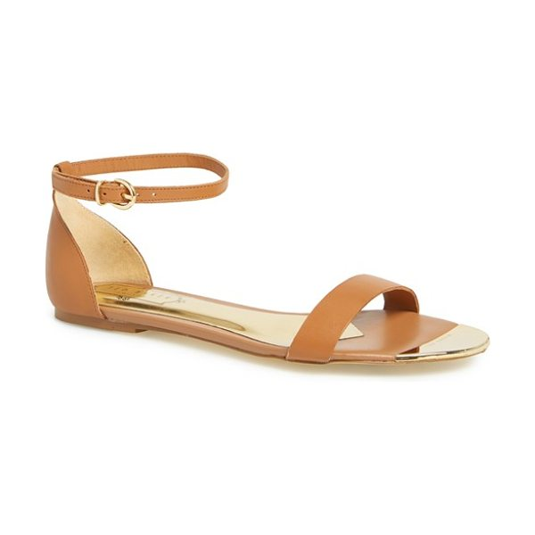 Ted Baker bellena 3 leather ankle strap sandal in tan - Barely there ankle and toe straps comprise a minimalist...