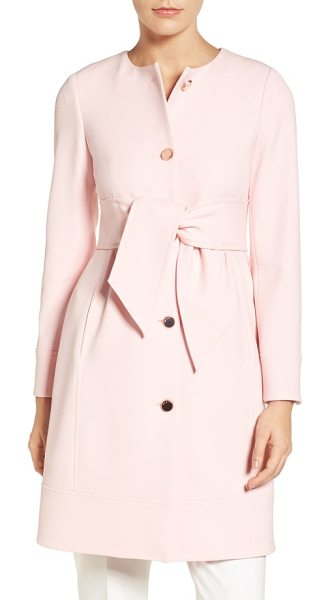 Ted Baker belted crepe coat in baby pink - A wide obi-inspired belt shapes the waist-nipped...