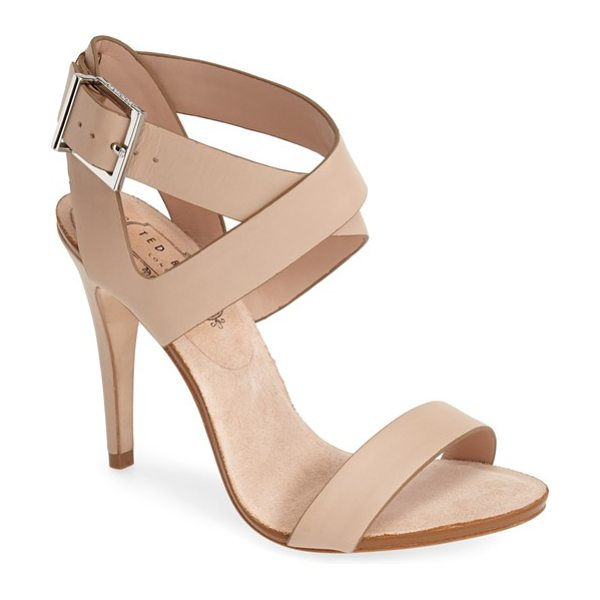 Ted Baker bienvenues leather sandal in tan - Logo-etched silvertone hardware brands a statuesque...
