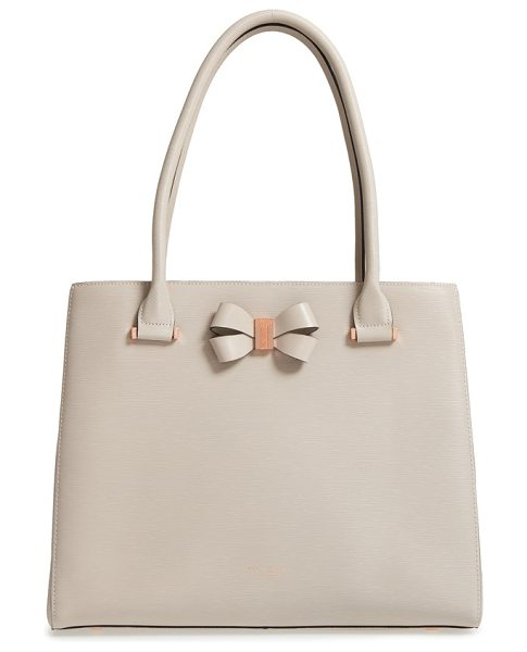 Ted Baker callaa bow leather shopper in taupe - Gilt hardware instantly elevates a textured leather...
