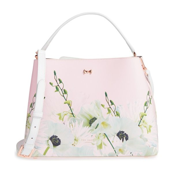 Ted Baker Candise bow leather tote in nude pink - Painterly floral patterns add signature sophistication...