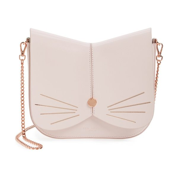 Ted Baker cat leather crossbody bag in baby pink - A feline-inspired handbag complete with whiskers, a...