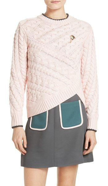 Ted Baker charo cable knit wrap front sweater in pale pink - From the Colour by Numbers Collection by Ted Baker....