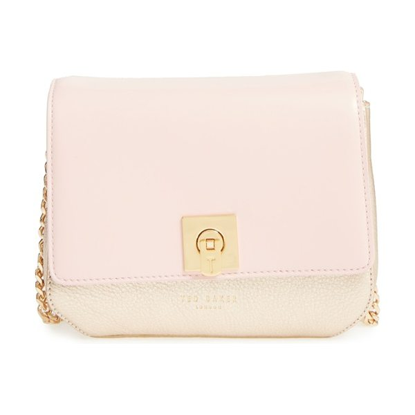 TED BAKER 'chelsee' leather crossbody bag - A smooth leather flap plays beautifully against the...