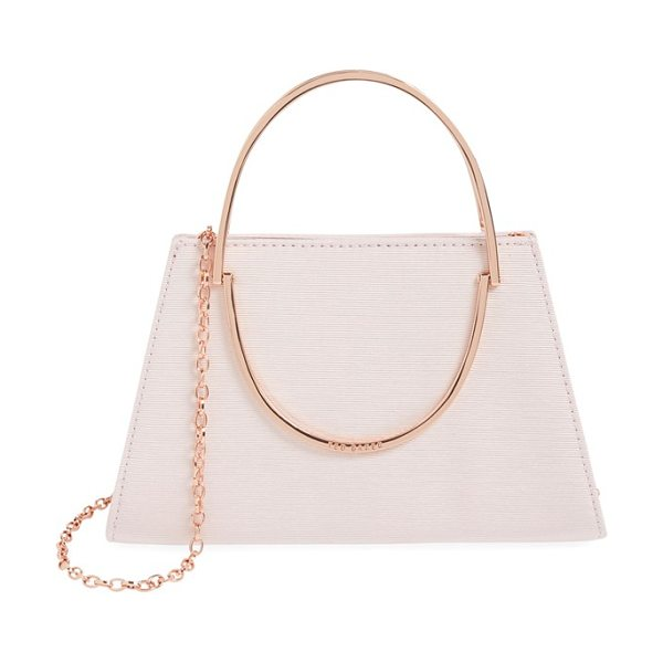 Ted Baker Convertible crossbody bag in baby pink - A grosgrain finish shimmers on a compact evening bag...