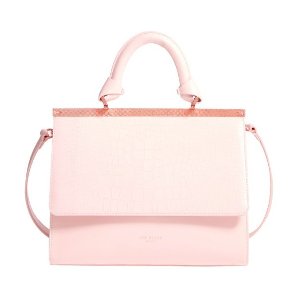 Ted Baker croc embossed leather satchel in baby pink - It's a snap to elevate everyday looks with one...