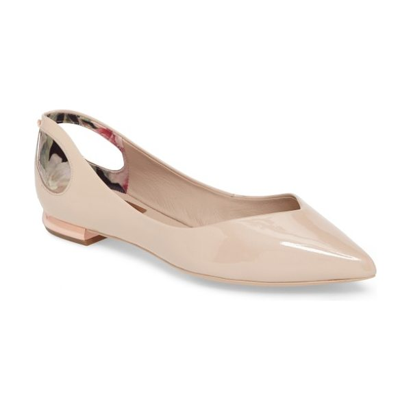 Ted Baker dabih cutout pointy toe flat in nude patent leather - Bow cutouts and a gilded, logo-etched heel add signature...