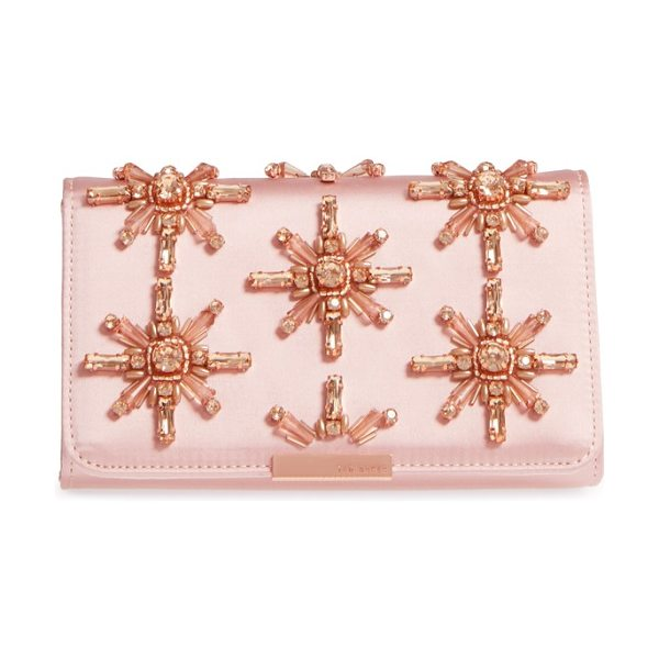 Ted Baker daveena crystal embellished satin clutch in light pink - A satin clutch featuring exquisite crystal starbursts is...