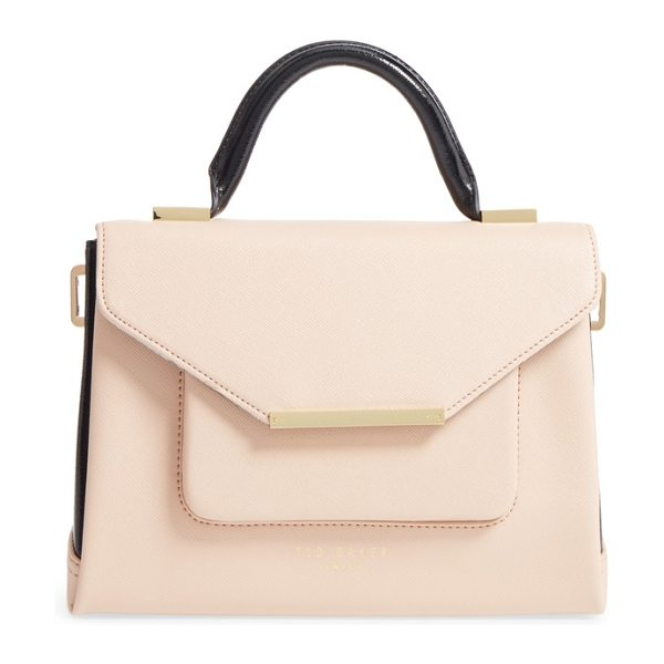 Ted Baker faux leather satchel in taupe - Chic color-blocked styling adds to the smart look of a...