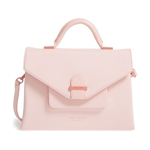Ted Baker faux leather satchel in pale pink - A chic mix of crosshatched and glossy faux leather adds...