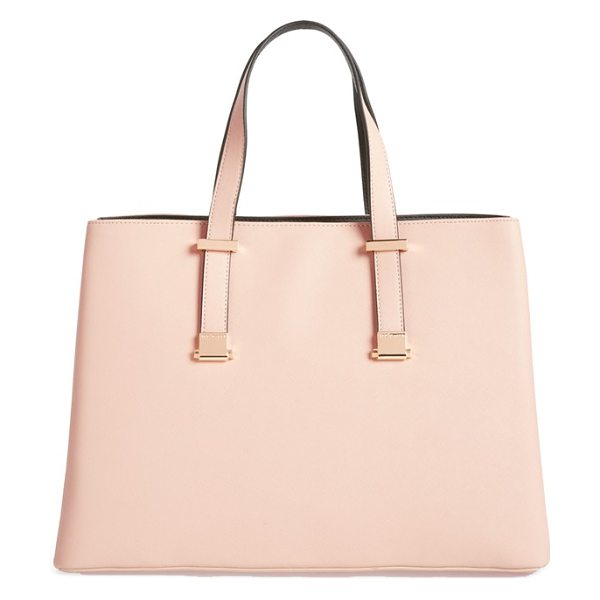 Ted Baker Faux leather shopper in taupe - Innovative adjustable handles allow you to carry this...