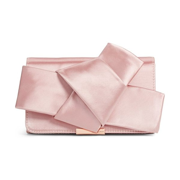 Ted Baker fefee satin knotted bow clutch in light pink - An asymmetrical knotted bow adds pretty dimension at the...