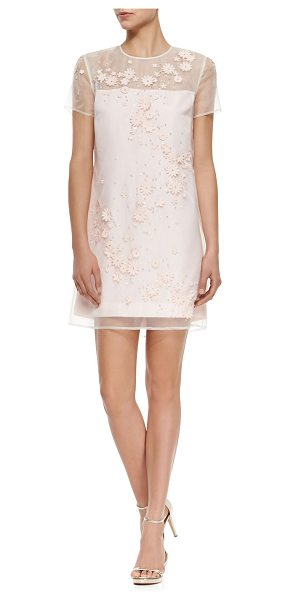 Ted Baker Floral-embellished illusion mini dress -  Ted Baker London dress features sheer overlay...