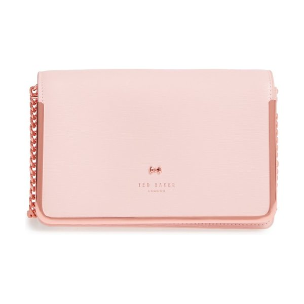 TED BAKER highbox leather convertible clutch in baby pink - Golden hardware frames the flap of a sophisticated,...