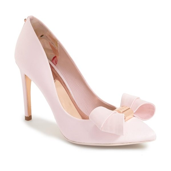 Ted Baker ichlibi bow pump in lt pink satin - A sculpted double bow centered by a logo-etched charm...