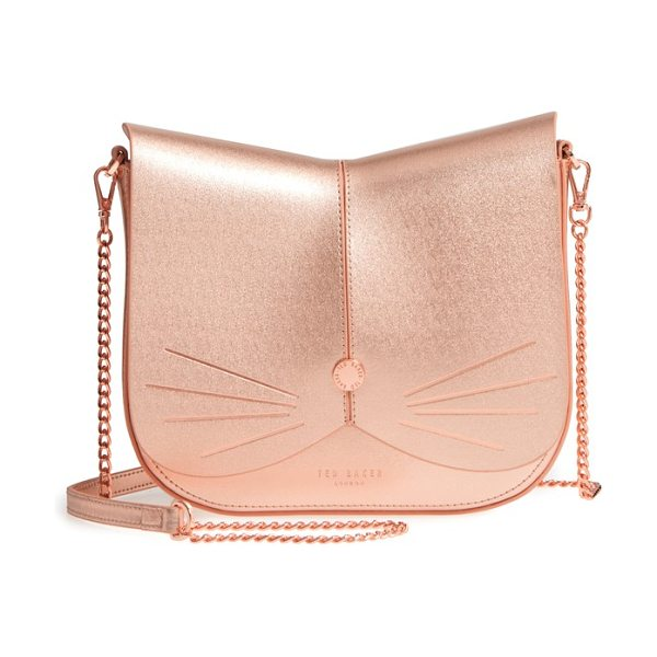 Ted Baker kittii cat leather crossbody bag in rose gold - A feline-inspired handbag complete with whiskers, a...
