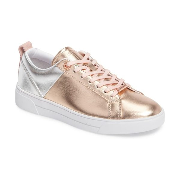 Ted Baker kulei lace-up sneaker in rose gold/ silver leather - Metallic detailing defines a mixed-finish leather...