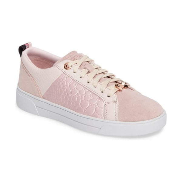 Ted Baker kulei sneaker in light pink leather - Metallic accents enhance the striking appeal of a...