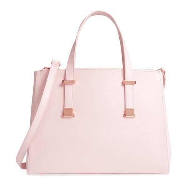 Ted Baker large alunaa convertible leather tote in light pink - This minimalist leather tote is all about options: Top...