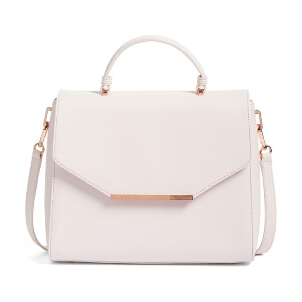 Ted Baker large dajana faux leather top handle satchel in nude pink - Signature rose-goldtone hardware complements the...