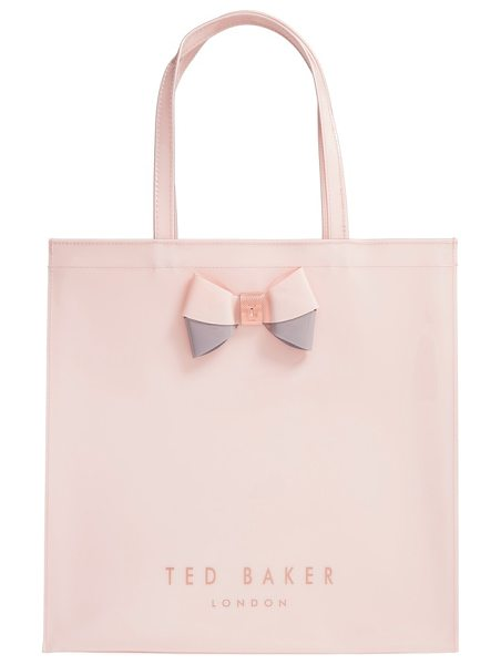 Ted Baker 'large icon in pale pink - A duo-tone bow held by logo-etched hardware makes this...