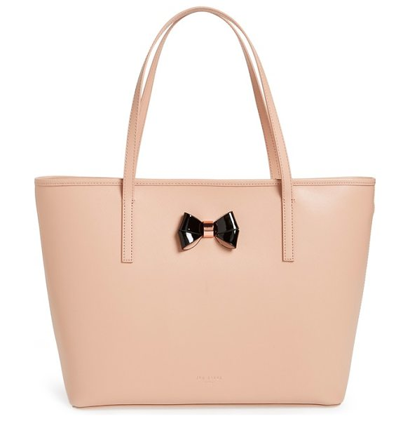 Ted Baker Large logo bow leather shopper in taupe - A pert-and-polished bow with rose-goldtone hardware...
