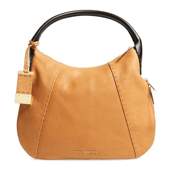 TED BAKER Leather hobo bag in tan - A lightly structured hobo bag pieced from richly pebbled...
