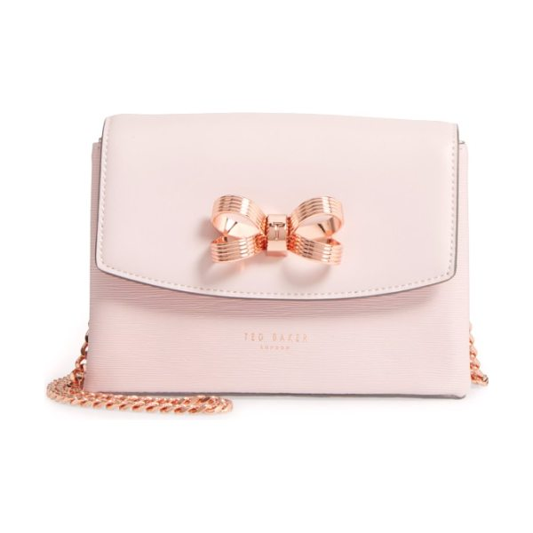 Ted Baker leorr bow leather crossbody bag in dusky pink - A gilt bow adds signature gleam to a compact crossbody...