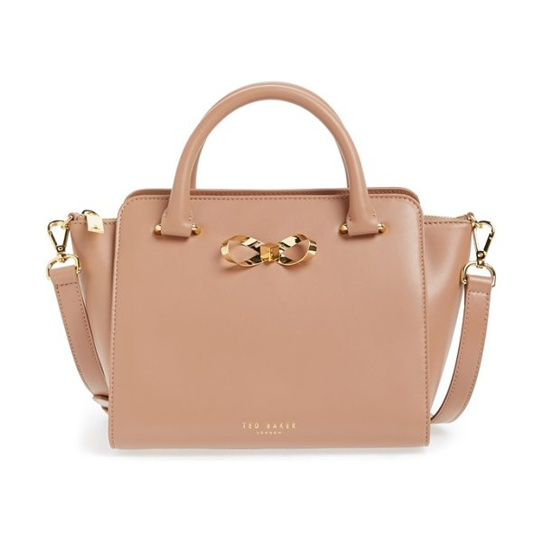 Ted Baker Loop bow leather tote bag in mink - A ladylike structured leather tote is the perfect...