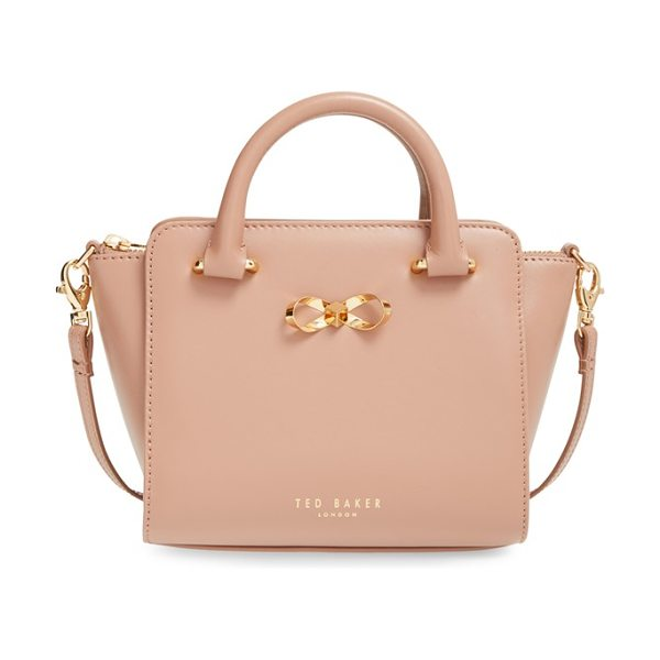 Ted Baker Loop bow mini leather tote bag in mink - A tiny take on a ladylike structured leather tote is the...