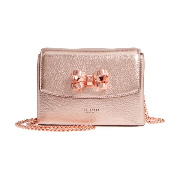 Ted Baker lupiin metallic leather crossbody bag in bronze - A signature bow provides an elegant finishing touch for...