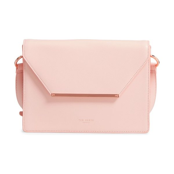 Ted Baker magsie bar detail leather envelope clutch in baby pink - A textured logo bar marks the flap of a boxy envelope...