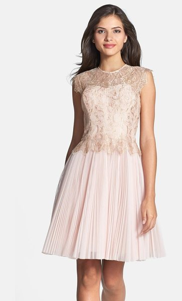 Ted Baker remma metallic lace overlay fit & flare dress in nude pink - Delicate gold-threaded lace brushed with eyelash fringe...
