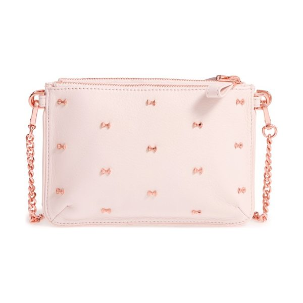 Ted Baker Micro bow leather crossbody bag in dusky pink