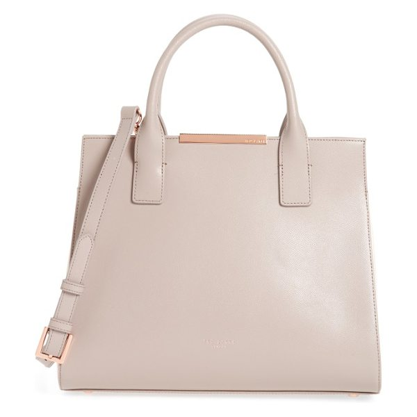 Ted Baker mini colorblock leather tote in mink - A prim, lightly textured leather tote features a sleek...
