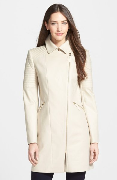 Ted Baker moto detail stretch cotton coat in taupe - Gleaming zips, asymmetrical styling and channel-quilted...