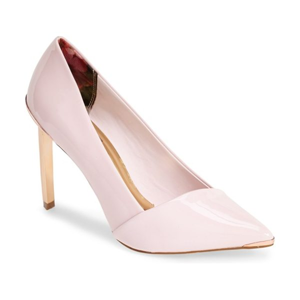 Ted Baker naretta pointy toe pump in pink patent - An asymmetrical topline and flashy gilt hardware amplify...