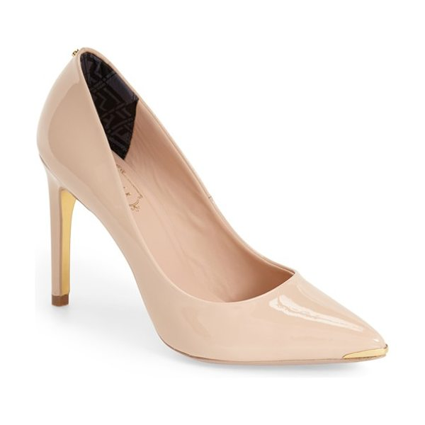 Ted Baker neevo pointy toe pump in nude patent - A tall pointy-toe pump is both refined and feminine with...