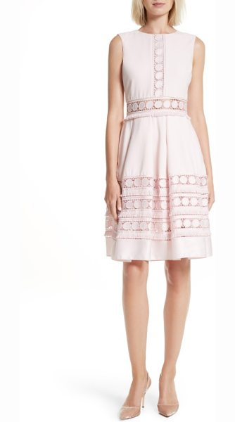 Ted Baker olym contrast trim dress in nude pink - Circular lace trim tipped with fringe adds a touch of...
