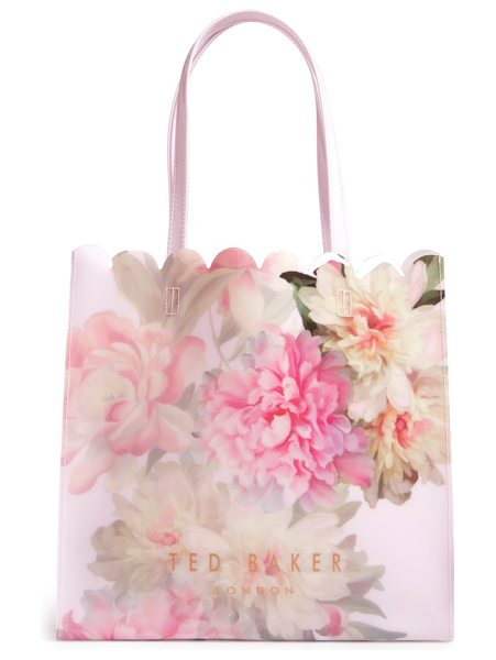 Ted Baker painted posie large icon bag in baby pink - Gorgeous peonies abloom in lush abandon make this glossy...
