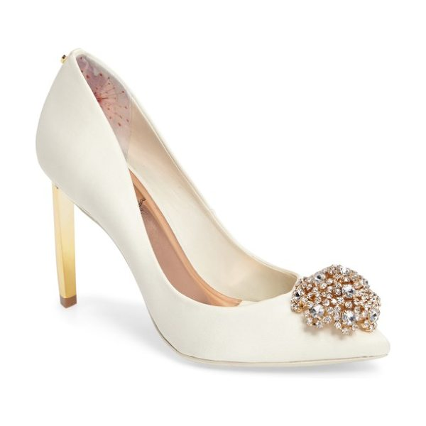 TED BAKER 'peetch' pointy toe pump in cream fabric - The dazzling, crystallized dome at the toe of the Peetch...