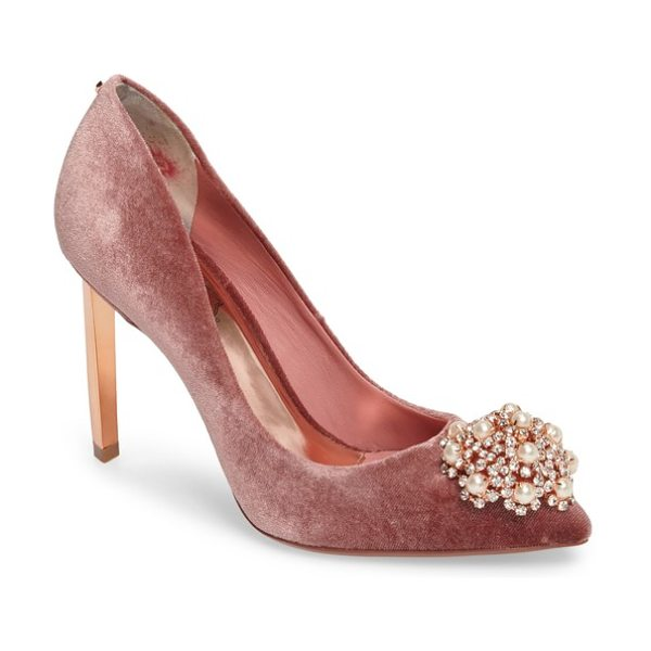 Ted Baker 'peetch' pointy toe pump in mink velvet - The dazzling, crystallized dome at the toe of the Peetch...