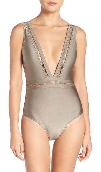 Ted Baker plunge one piece swimsuit in khaki - A plunging neckline spotlights this daring one-piece...